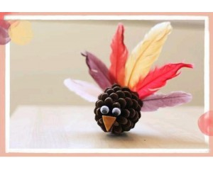 松果和羽毛制作可爱的小鸟 儿童